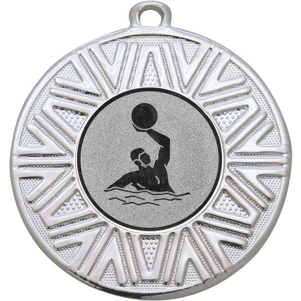 """Water Polo Achievement Medal Silver 50mm (2"""")"""