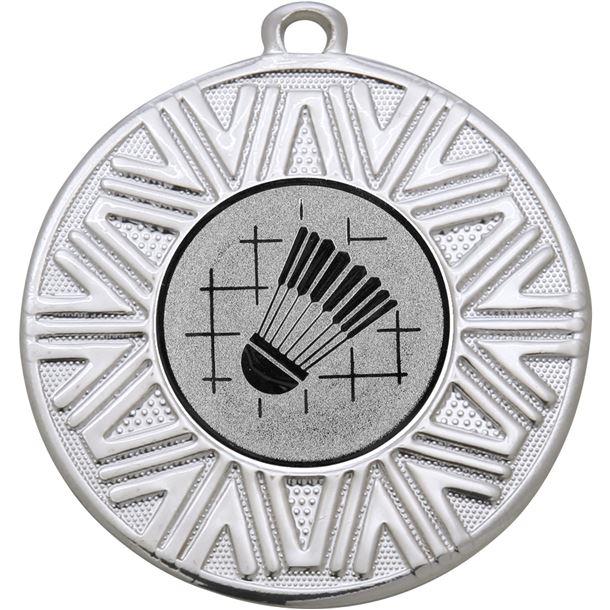 """Badminton Achievement Medal Silver 50mm (2"""")"""