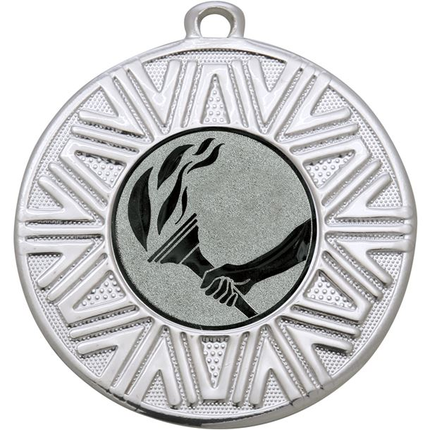 """Flame Achievement Medal Silver 50mm (2"""")"""