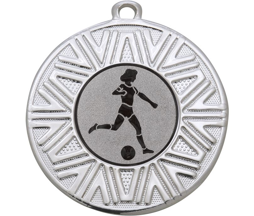 "Female Football Achievement Medal Silver 50mm (2"")"