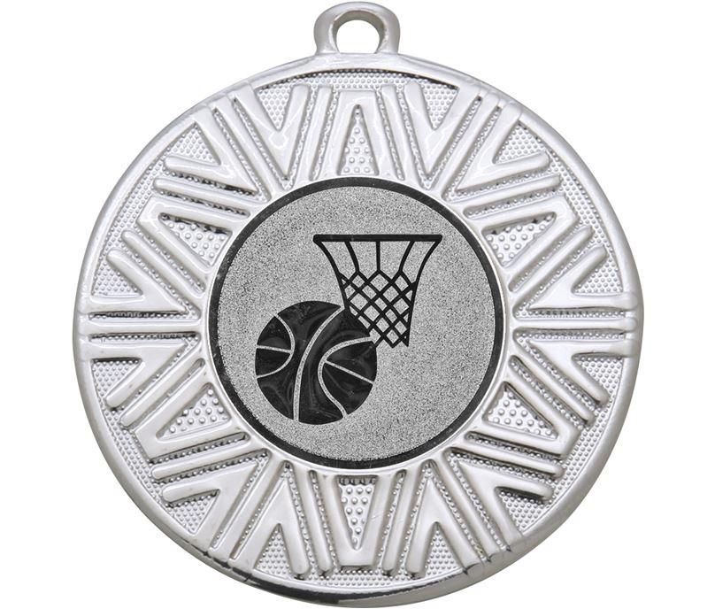 "Basketball Achievement Medal Silver 50mm (2"")"
