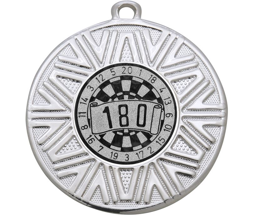 "Dart Board Achievement Medal Silver 50mm (2"")"