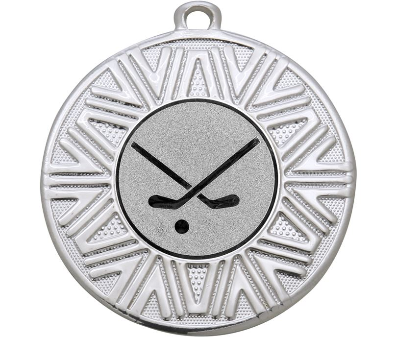 "Hockey Sticks Achievement Medal Silver 50mm (2"")"