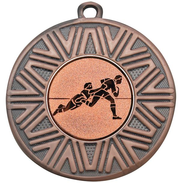 """Rugby Achievement Medal Bronze 50mm (2"""")"""