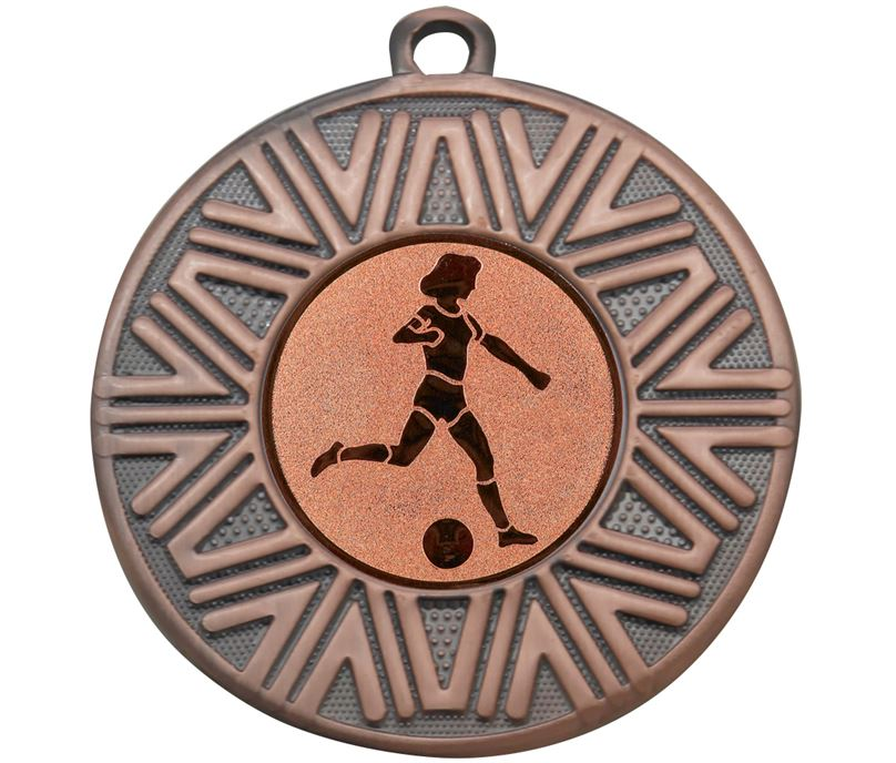 "Female Football Achievement Medal Bronze 50mm (2"")"