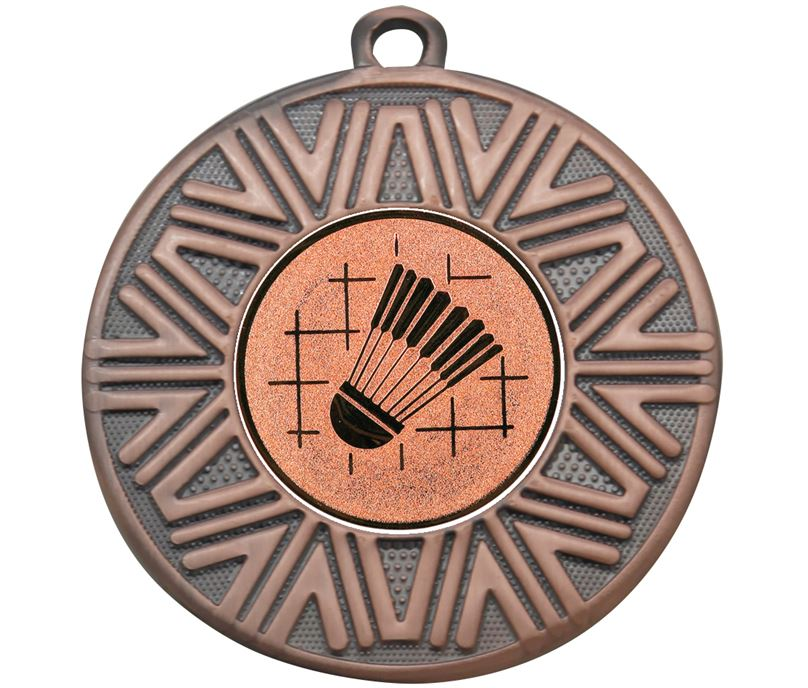 """Badminton Achievement Medal Bronze 50mm (2"""")"""