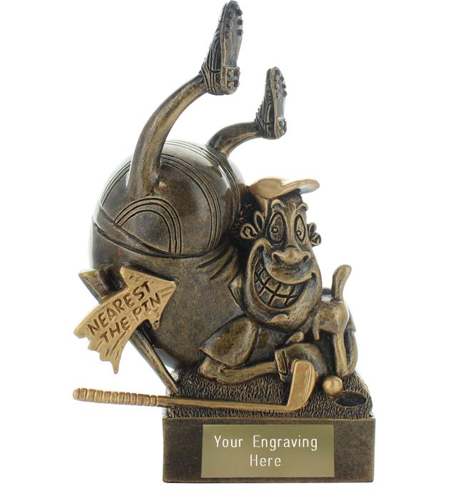 "Nearest the Pin Golf Novelty Trophy Antique Gold 14.5cm (5.75"")"