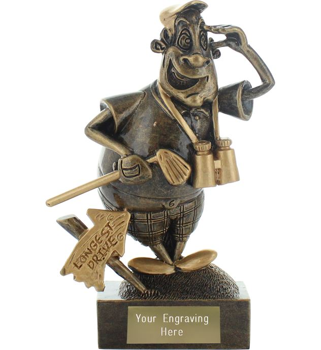 """Longest Drive Golf Novelty Trophy Antique Gold 14.5cm (5.75"""")"""