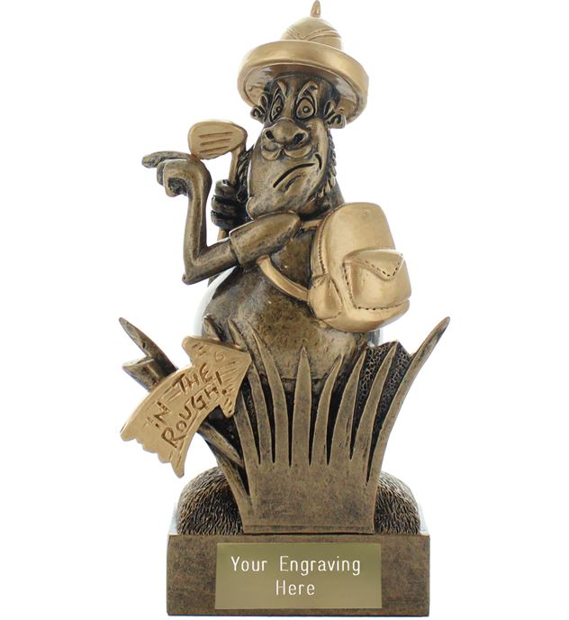 """In the Rough Golf Novelty Trophy Antique Gold 14.5cm (5.75"""")"""