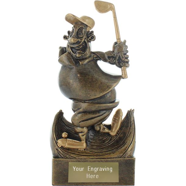 """Sell the Clubs Golf Novelty Trophy Antique Gold 14.5cm (5.75"""")"""