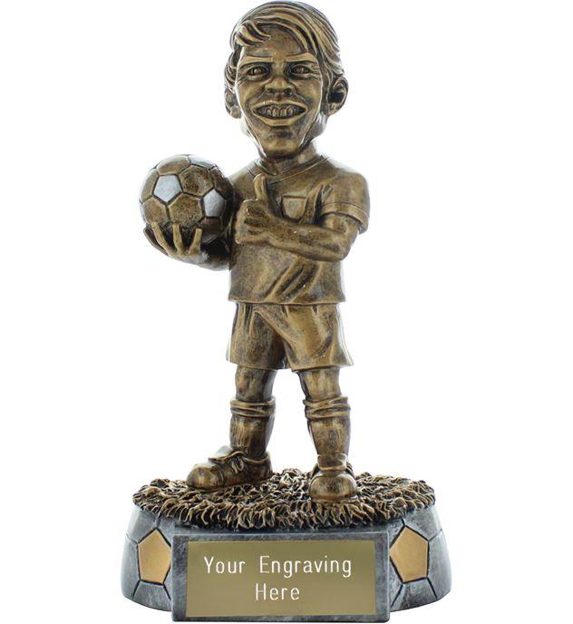 """Smug Novelty Football Trophy Antique Gold 16cm (6.25"""")"""