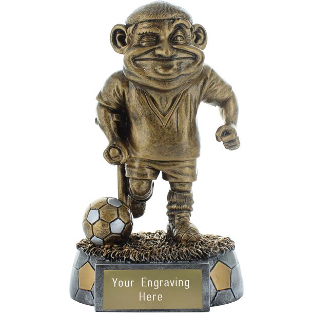 "Old Man Novelty Football Trophy Antique Gold 15cm (6"")"