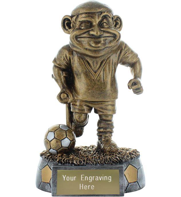 """Old Man Novelty Football Trophy Antique Gold 15cm (6"""")"""