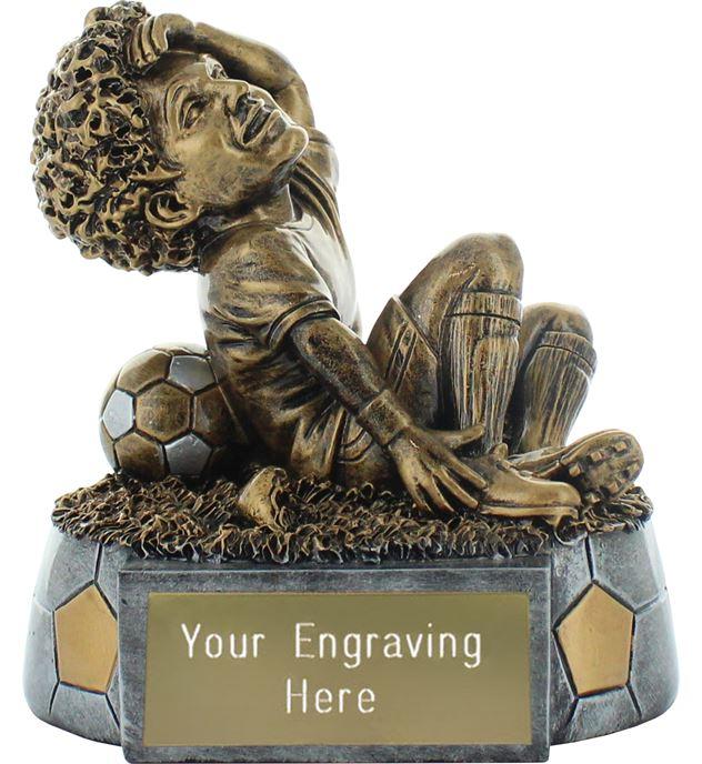 """Diver Novelty Football Trophy Antique Gold 16cm (6.25"""")"""