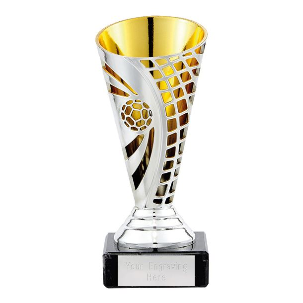 """Football Defender Trophy Cup Silver & Gold 14cm (5.5"""")"""