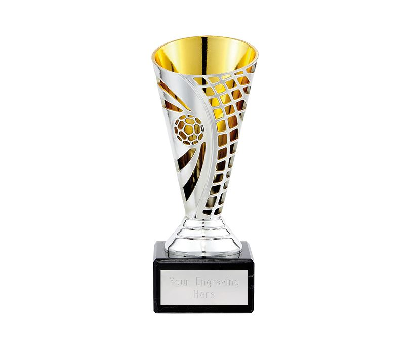 """Football Defender Trophy Cup Silver & Gold 15cm (6"""")"""