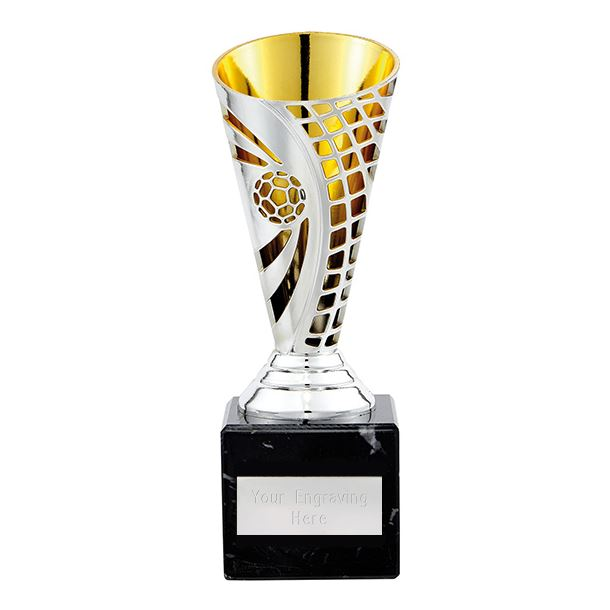 """Football Defender Trophy Cup Silver & Gold 17cm (6.75"""")"""