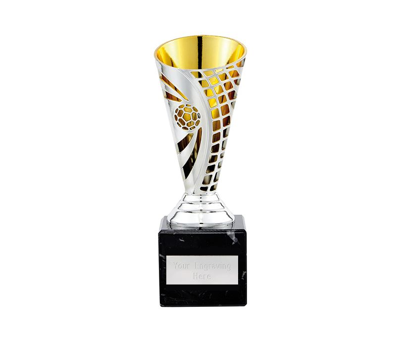 "Football Defender Trophy Cup Silver & Gold 17cm (6.75"")"