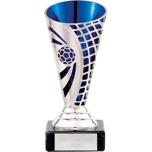 "Football Defender Trophy Cup Silver & Blue 14cm (5.5"")"