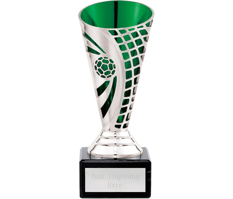 """Football Defender Trophy Cup Silver & Green 15cm (6"""")"""