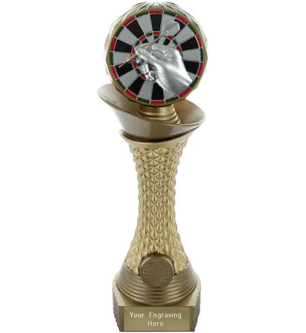 "Darts Trophy Heavyweight Hemisphere Tower Gold & Bronze 30.5cm (12"")"