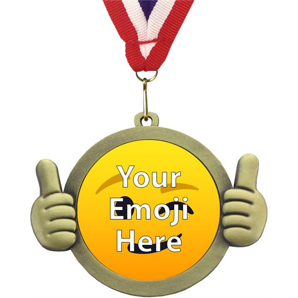 "Emoji Pal Medal with Medal Ribbon Antique Gold 50mm (2"")"