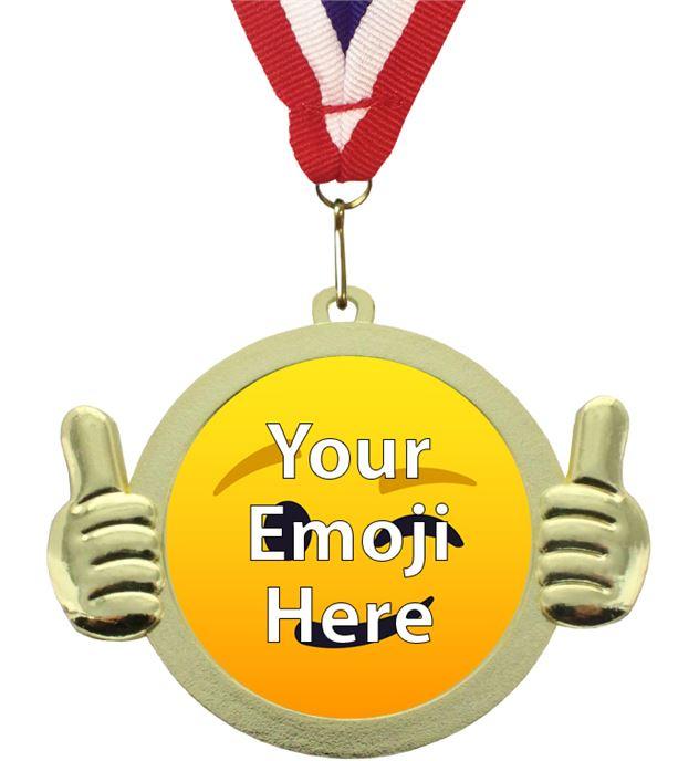 "Emoji Pal Medal with Medal Ribbon Gold 50mm (2"")"
