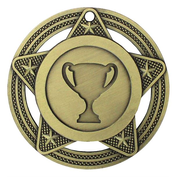 "Multisport Medal by Infinity Stars Antique Gold 50mm (2"")"