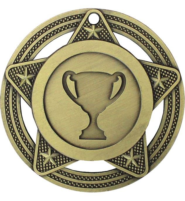 """Multisport Medal by Infinity Stars Antique Gold 50mm (2"""")"""