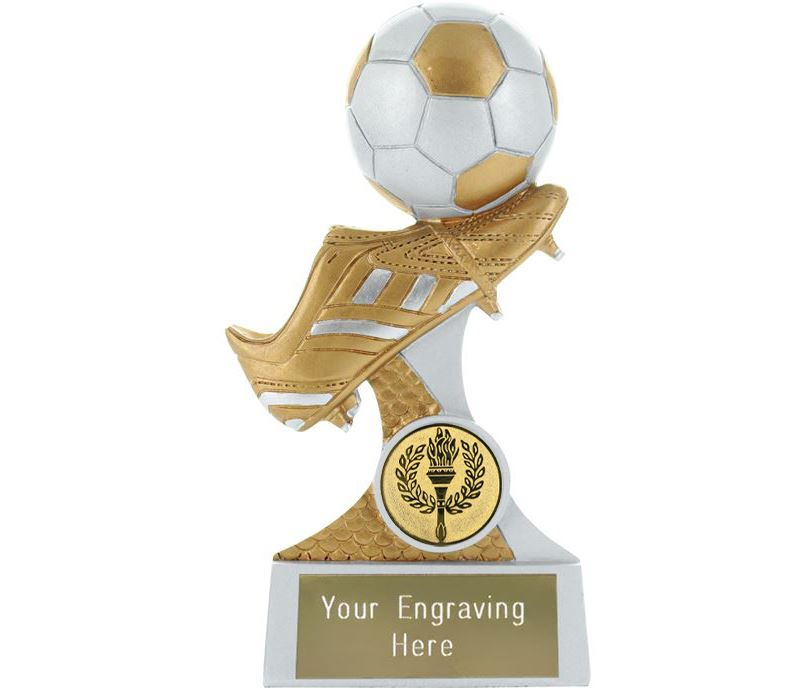 """Boot and Ball Resin Trophy Silver and Gold 15cm (6"""")"""