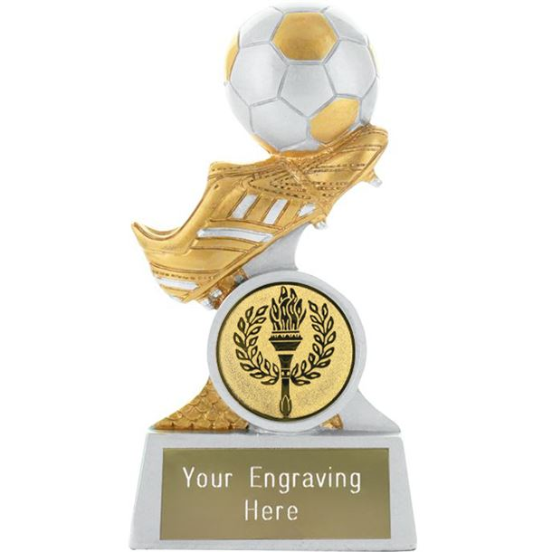 """Boot and Ball Resin Trophy Silver and Gold 10cm (4"""")"""