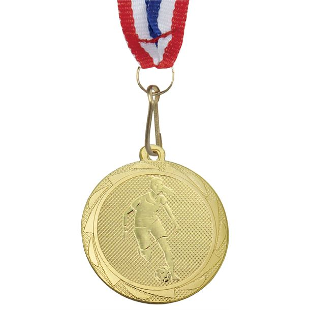 "Female Football Player Medal Gold with Medal Ribbon 45mm (1.75"")"