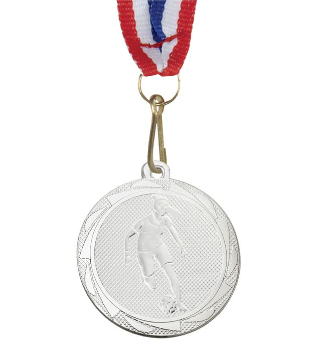 """Female Football Player Medal Silver with Medal Ribbon 45mm (1.75"""")"""