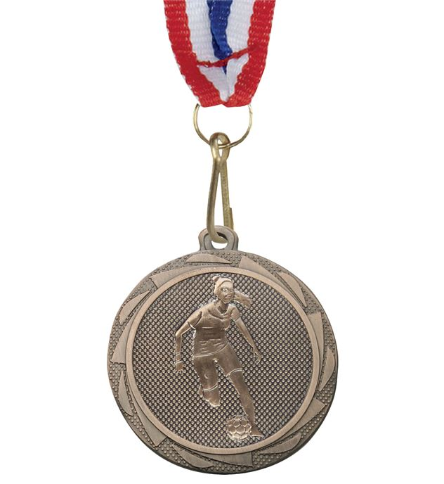 "Female Football Player Medal Bronze with Medal Ribbon 45mm (1.75"")"