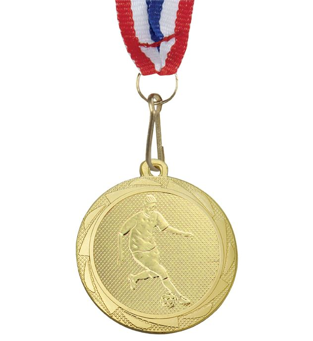 "Male Football Player Medal Gold with Medal Ribbon 45mm (1.75"")"
