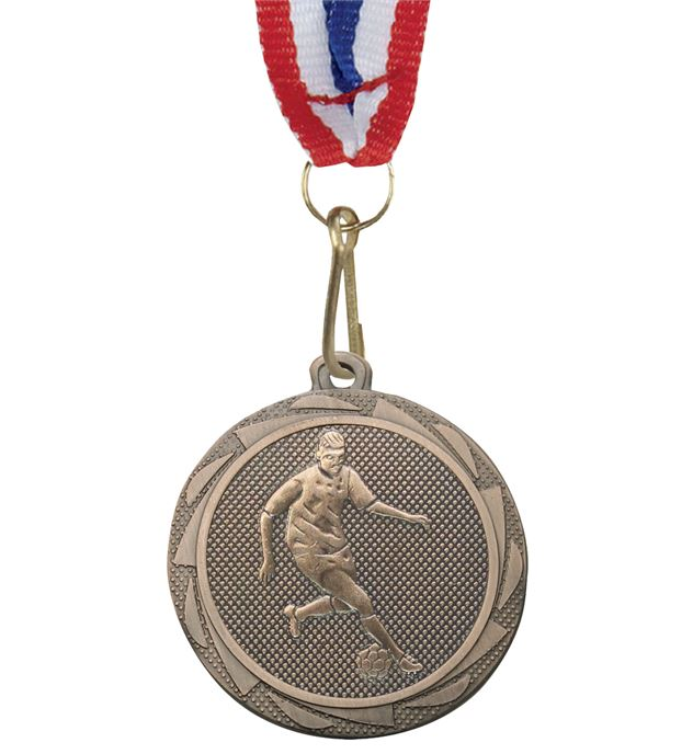 """Male Football Player Medal Bronze with Medal Ribbon 45mm (1.75"""")"""