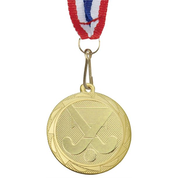 """Hockey Medal Gold with Medal Ribbon 45mm (1.75"""")"""