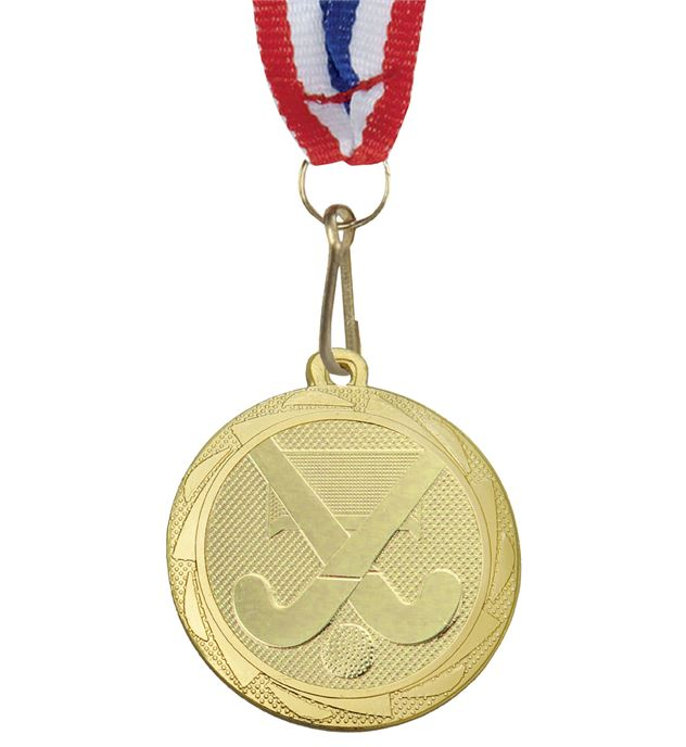"Hockey Medal Gold with Medal Ribbon 45mm (1.75"")"