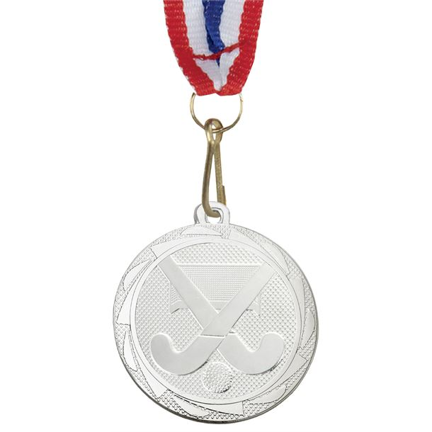 """Hockey Medal Silver with Medal Ribbon 45mm (1.75"""")"""