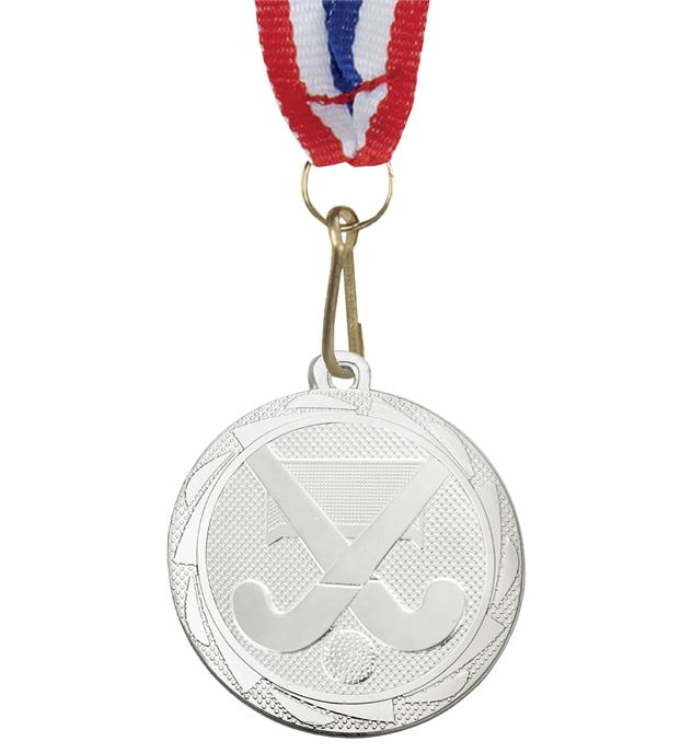 "Hockey Medal Silver with Medal Ribbon 45mm (1.75"")"