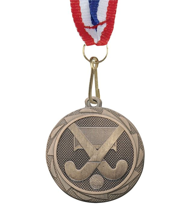 """Hockey Medal Bronze with Medal Ribbon 45mm (1.75"""")"""