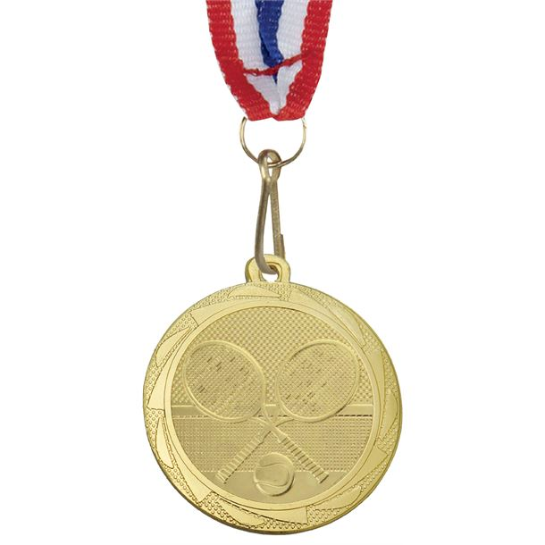 """TennisFusion Medal Gold with Medal Ribbon 45mm (1.75"""")"""