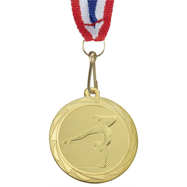"""Female GymnasticsFusion Medal Gold with Medal Ribbon 45mm (1.75"""")"""