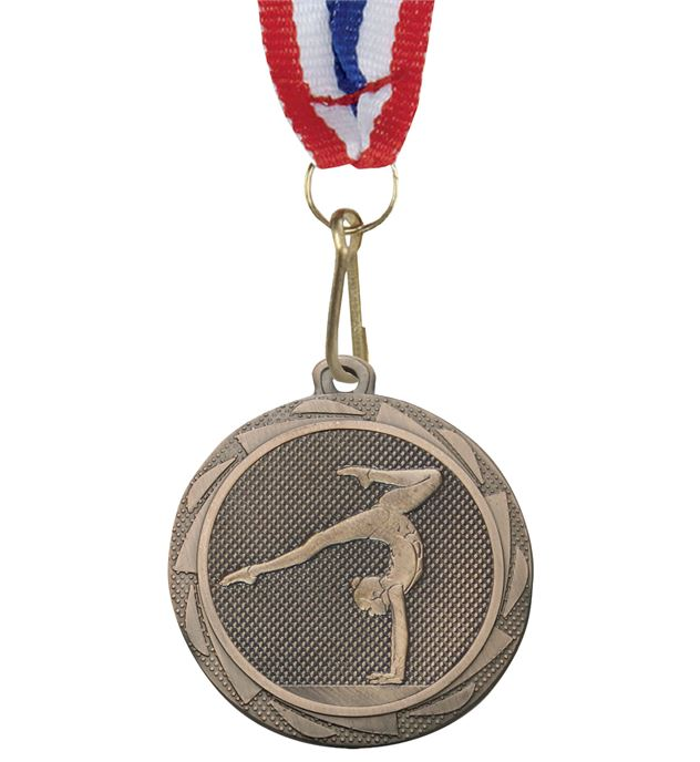 """Female GymnasticsFusion Medal Bronze with Medal Ribbon 45mm (1.75"""")"""
