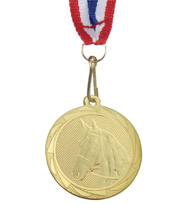 """EquestrianFusion Medal Gold with Medal Ribbon 45mm (1.75"""")"""