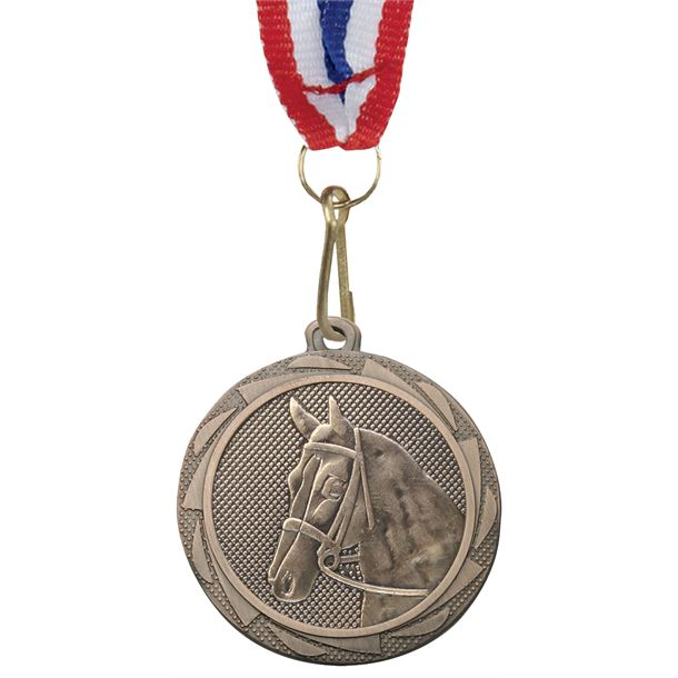 """EquestrianFusion Medal Bronze with Medal Ribbon 45mm (1.75"""")"""