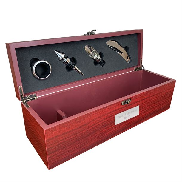 "Rosewood Finish Wine Presentation Box with Tools 36cm (14.25"")"