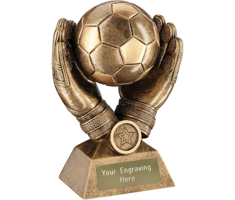 "Goalkeeper Gloves Football Trophy 18.5cm (7.25"")"