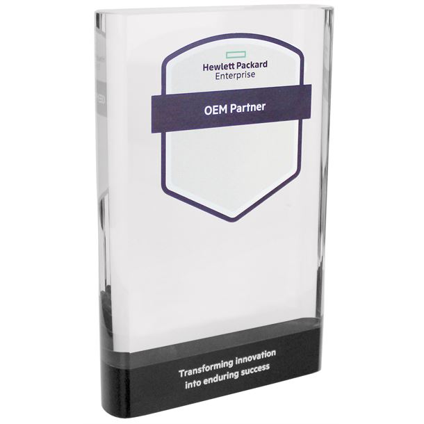 "Heavyweight Clear & Black Glass Plaque Award 23cm (9"")"