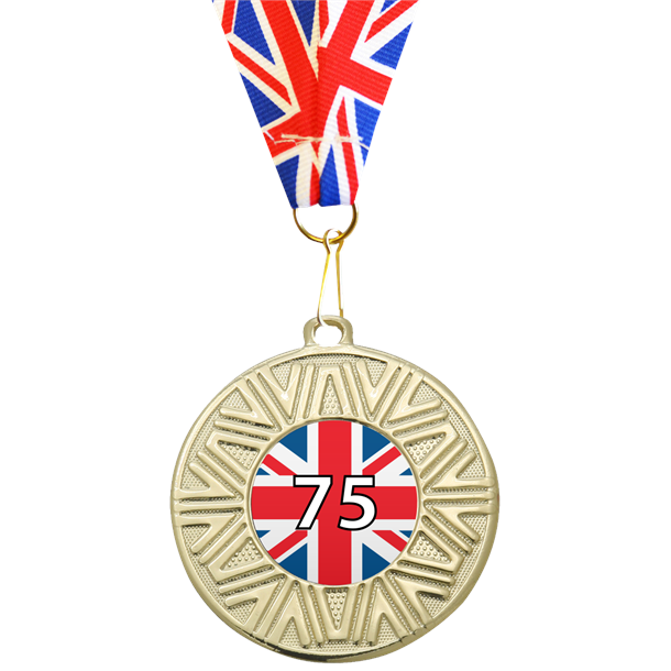 """VE Day Special Edition 75th Anniversary Medal Gold with Union Flag Medal Ribbon 50mm (2"""")"""